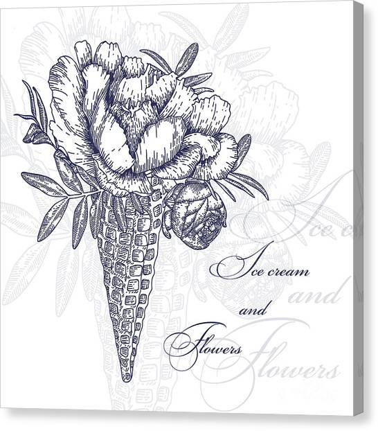 Wedding Bouquet Canvas Print - Vector Flowers In Waffle Cone. Bouquet by Innakote