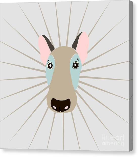 Happy Canvas Print - Vector Funny Head Of Dog On Vintage by Polanika