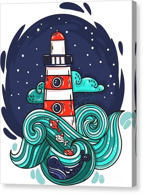 Beam Canvas Print - Vector Illustration Lighthouse In Storm by Evasabrekova