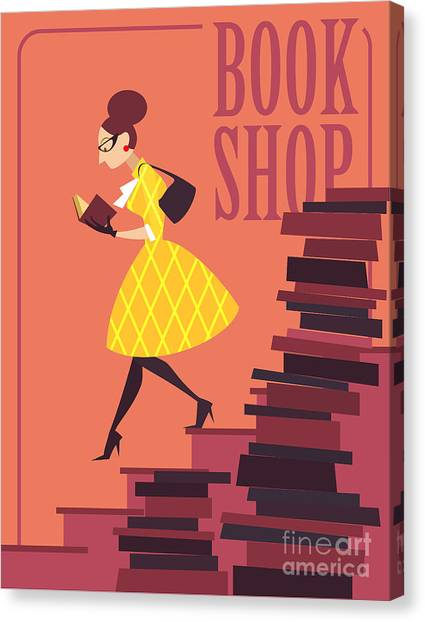 Vector Illustration Of Bookstore, Books Canvas Print by Porcelain White