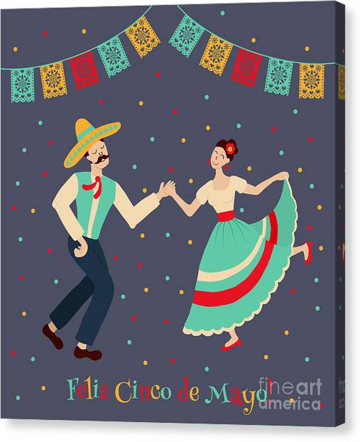 Couple Canvas Print - Vector Illustration Of Happy Dancing by Los ojos pardos