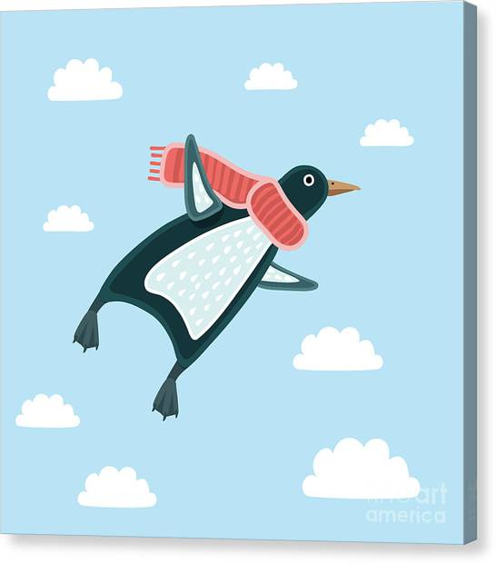 Happy Canvas Print - Vector Illustration Of The Flying by Cosmaa