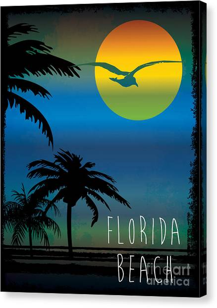 Florida Canvas Print - Vector Illustration On The Theme Of by Tshirtdesign
