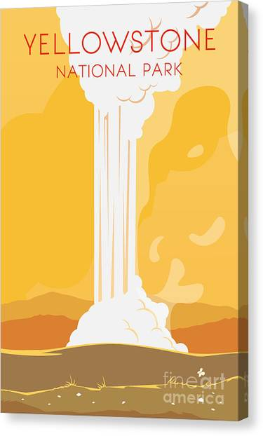 Destinations Canvas Print - Vector Retro Poster. Yellowstone by Red Monkey