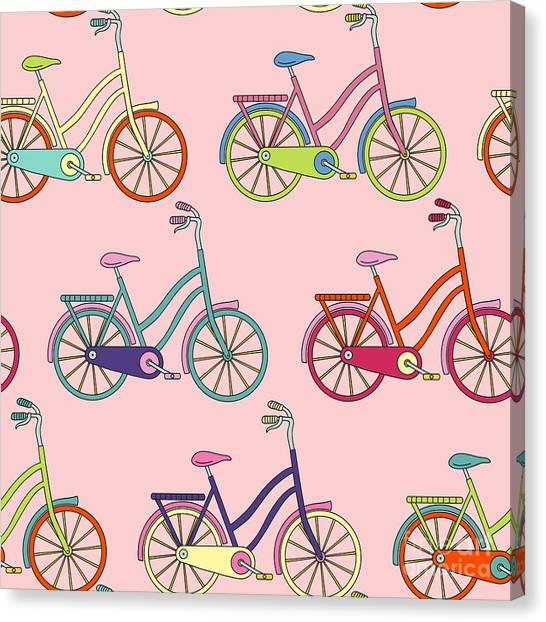 Vector Seamless Pattern With Bicycle Canvas Print by Maria galybina