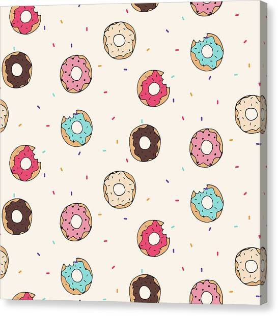 Printmaking Canvas Print - Vector Seamless Pattern With Donuts by Victoria pineapple