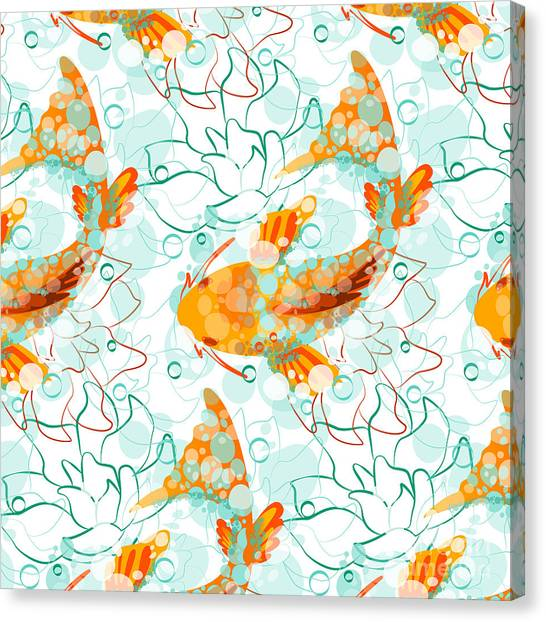 Japan Canvas Print - Vector Seamless Pattern With Koi Fish by Derenskaya