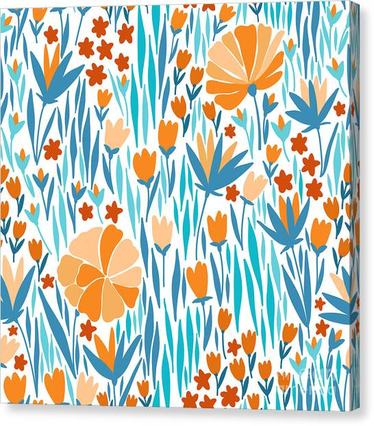 Elegance Canvas Print - Vector Seamless Pattern With Summer by Maria galybina