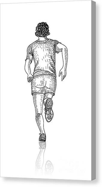 Decoration Canvas Print - Vector Sketch Of Man Runs Into The by Farferros