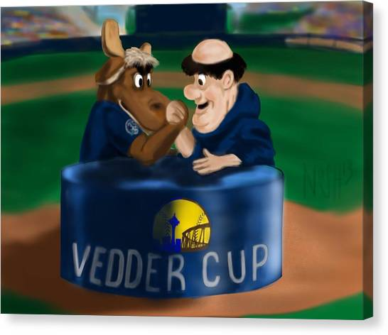 San Diego Padres Canvas Print - Vedder Cup Mascots by Jeremy Nash