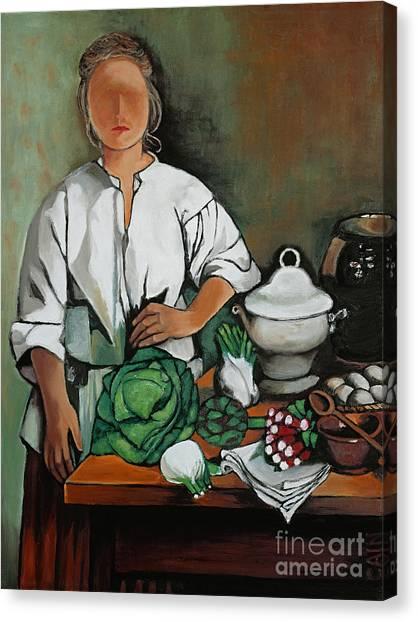 Vegetable Lady Wall Art Canvas Print