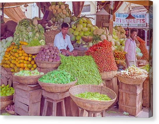 Vegetable Seller In Indian Market Canvas Print
