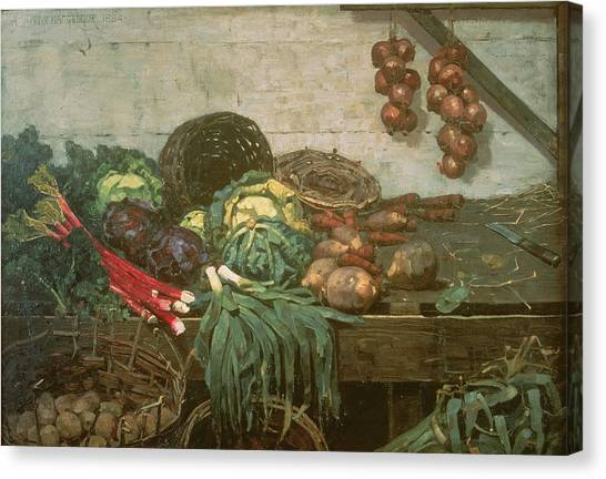 Broccoli Canvas Print - Vegetable Stall, 1884 by William York MacGregor