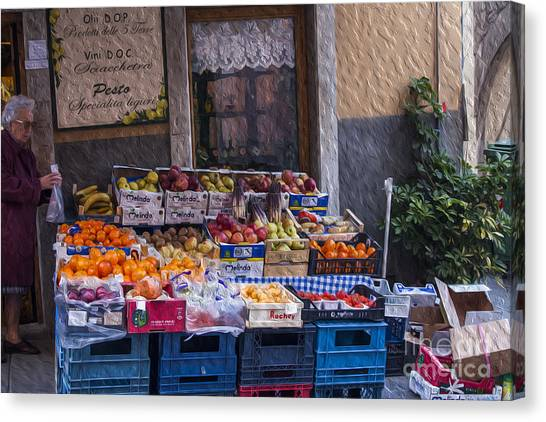 Honeydews Canvas Print - Vegetable Stand Italy by Patricia Hofmeester