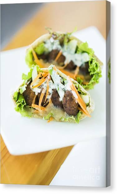 Vegetarian Falafel In Pita Bread Sandwich Canvas Print