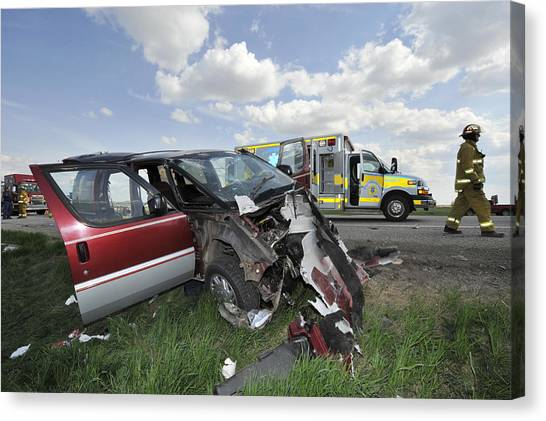 Mvc Canvas Print - Vehicle Frontal Impact Damage by Kevin Link