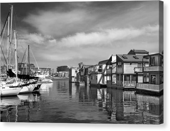 Veiw Of Marina In Victoria British Columbia Black And White Canvas Print