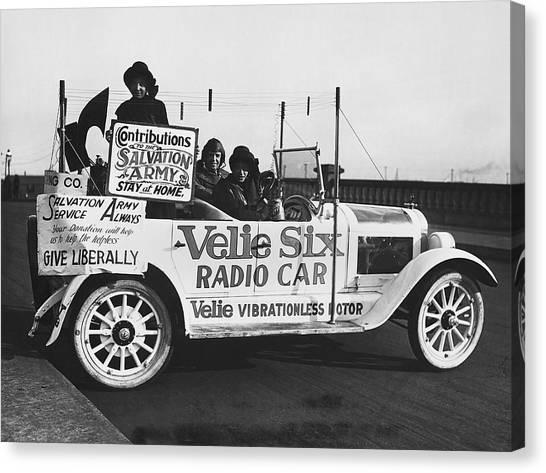 Placard Canvas Print - Velie Six Radio Car by Underwood & Underwood
