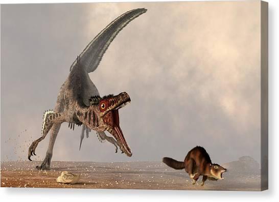Velociraptor Canvas Print - Velociraptor Chasing Small Mammal by Daniel Eskridge