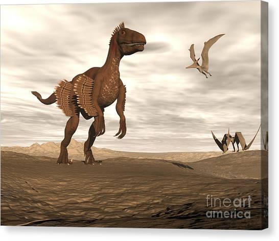 Velociraptor Canvas Print - Velociraptor Dinosaur In Desert by Elena Duvernay