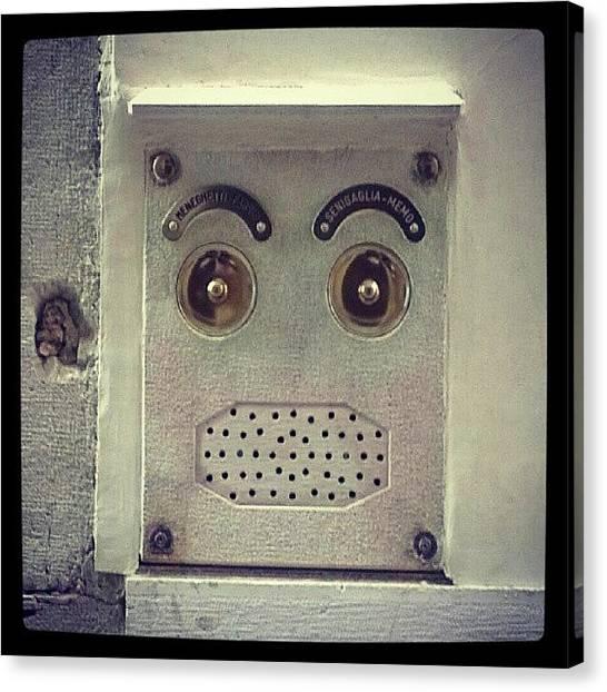 Speakers Canvas Print - Venetian #intercom Looks Like A #face by Siobhan Macrae