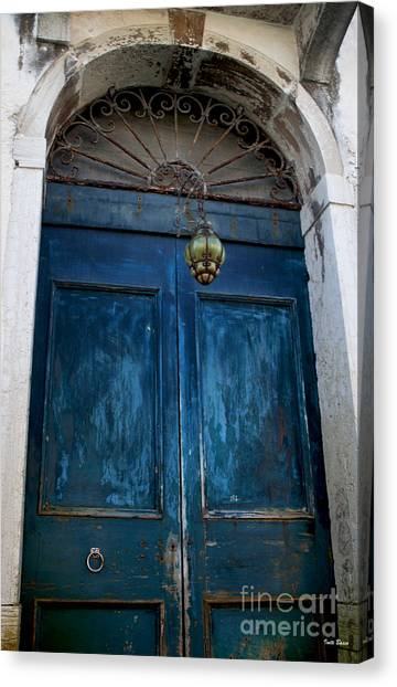 Venetian Old Blue Door Canvas Print