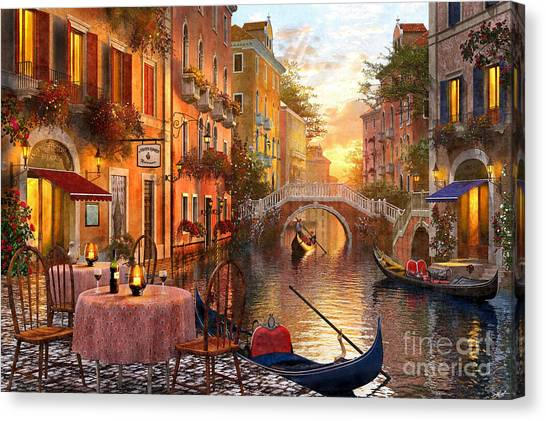 European City Canvas Print - Venetian Sunset by MGL Meiklejohn Graphics Licensing