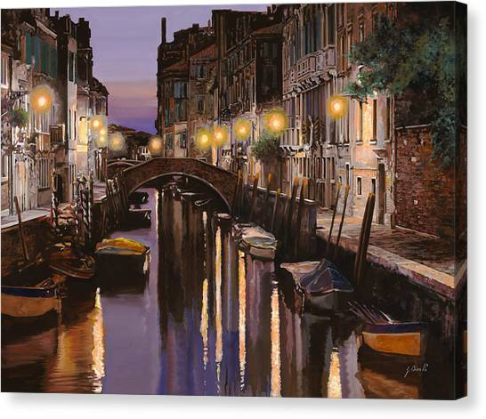 Dock Canvas Print - Venezia Al Crepuscolo by Guido Borelli