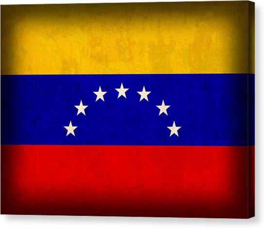 Venezuelan Canvas Print - Venezuela Flag Distressed Vintage Finish by Design Turnpike