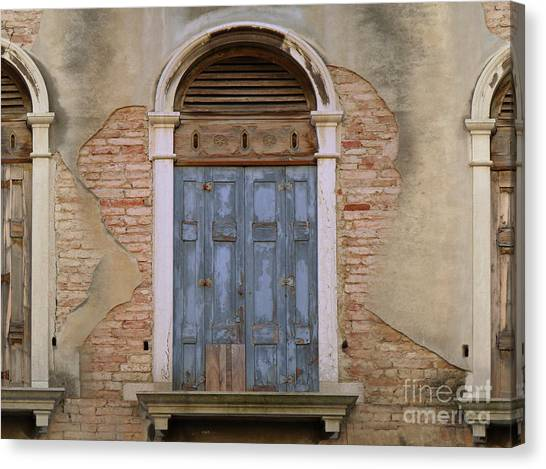 Venice Arched Bblue Shutters Horizontal Canvas Print