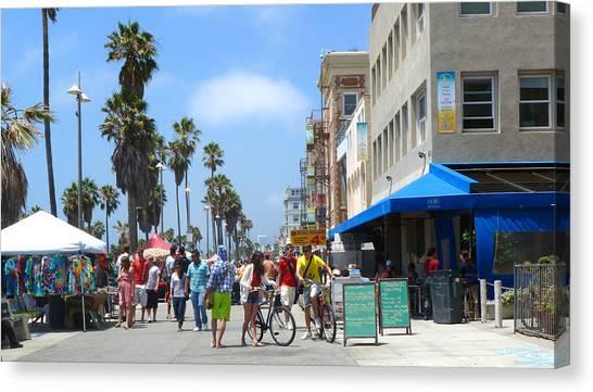 Venice Beach Canvas Print - Venice Beach Boardwalk by Nancy Merkle