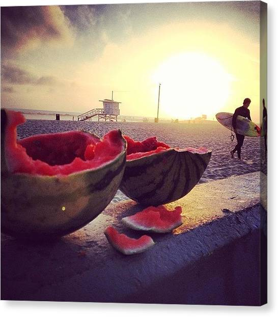 Watermelons Canvas Print - #venice #beach #sky #watermelon #fruit by Antonio Angelini