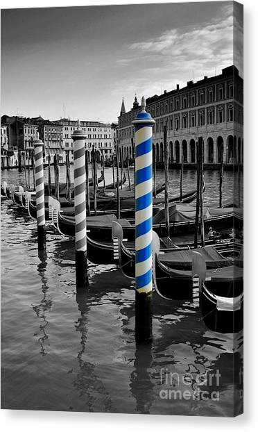 Black and white with color canvas print venice blue by henry kowalski