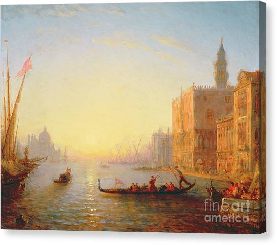 Sunset Horizon Canvas Print - Venice Evening by Felix Ziem