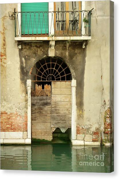 Venice Italy Boat Room Shutters Canvas Print