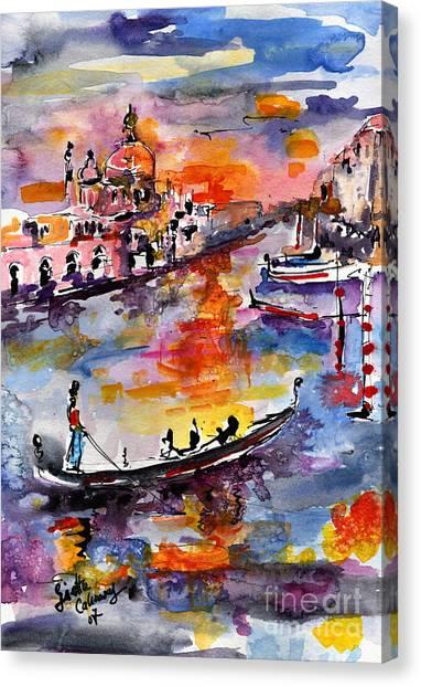 Venice Italy Gondolas Grand Canal Watercolor Canvas Print