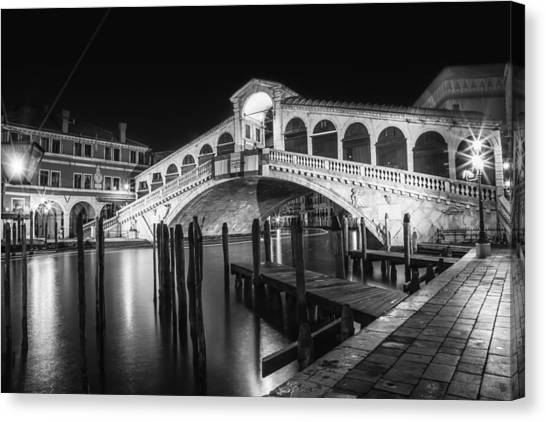 San Marco Canvas Print - Venice Rialto Bridge At Night Black And White by Melanie Viola