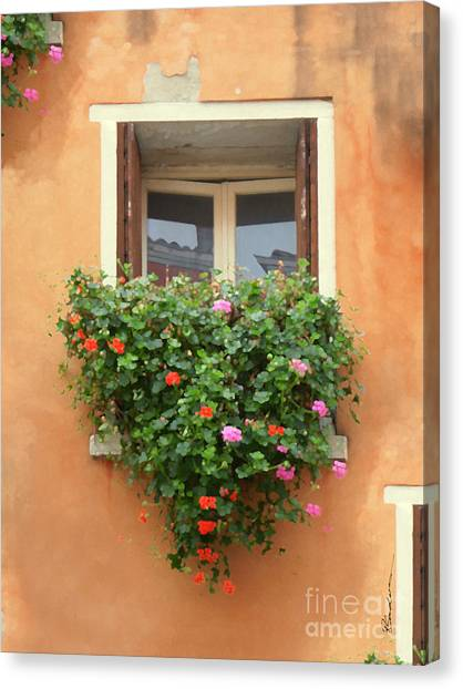 Venice Shutters Flowers Orange Wall Canvas Print