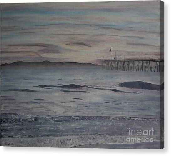 Ventura Pier High Surf Canvas Print