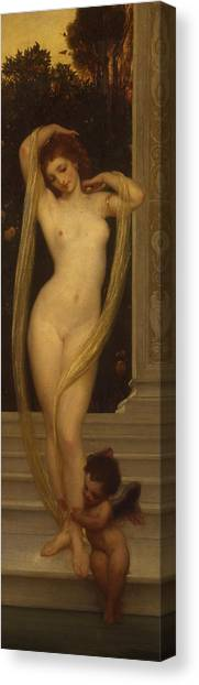 Neoclassical Art Canvas Print - Venus And Cupid by Frederic Leighton