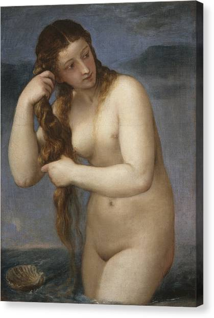 Erotic Framed Canvas Print - Venus Rising From The Sea by Titian