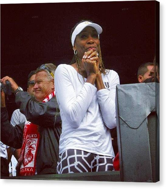 Tennis Pros Canvas Print - Venus Williams Watching Her Sister Win The Ladies Final At Wimbledon 2012 by Lottie H
