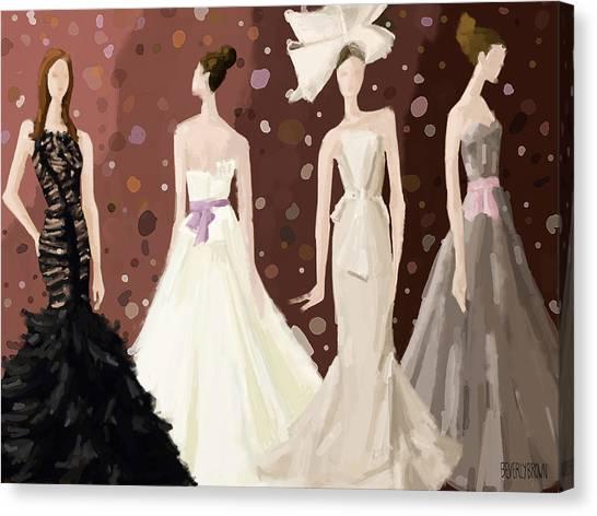 Brown Toned Art Canvas Print - Vera Wang Bridal Dresses Fashion Illustration Art Print by Beverly Brown Prints