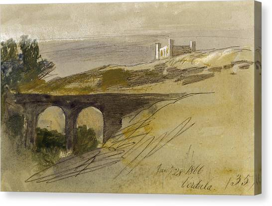 Maltese Canvas Print - Verdala Malta by Edward Lear