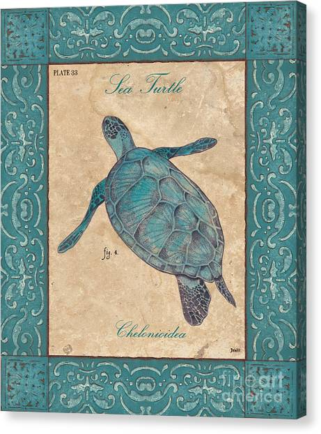 Turtles Canvas Print - Verde Mare 4 by Debbie DeWitt
