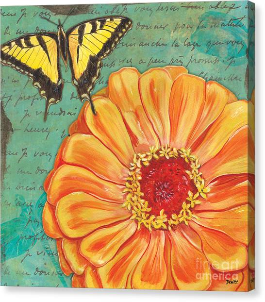 Yellow Butterfly Canvas Print - Verdigris Floral 1 by Debbie DeWitt
