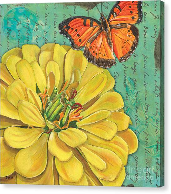 Yellow Butterfly Canvas Print - Verdigris Floral 2 by Debbie DeWitt