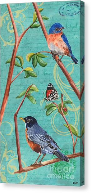 Yellow Butterfly Canvas Print - Verdigris Songbirds 1 by Debbie DeWitt