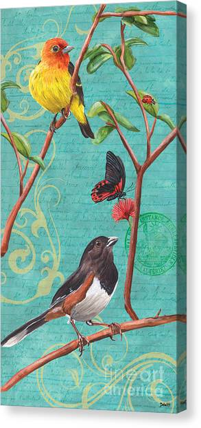 Yellow Butterfly Canvas Print - Verdigris Songbirds 2 by Debbie DeWitt