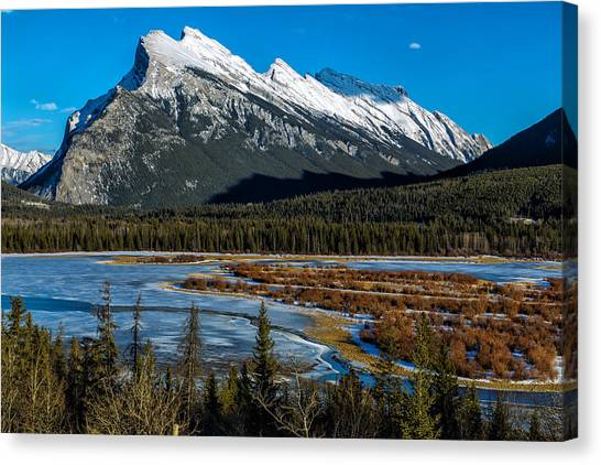 Vermillion Lakes And The Rundle Mountain Canvas Print